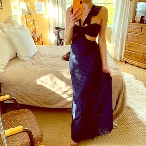 Romantic Sexy Navy Peekaboo Cutout Long Maxi Dress